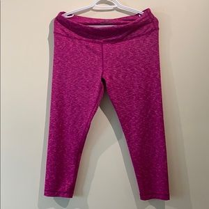 Women's Pink Crop Leggings, Size large